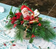 vintage santa centerpiece i love my 2 thrift store artificial