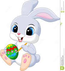 cute easter bunny cartoon painting an egg stock vector image