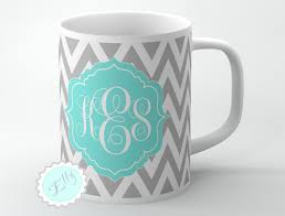cute tiffany blue monogram onto gray chevron personalized coffee