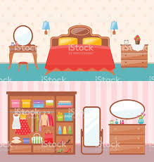 Cartoon Bunk Bed by Flat Design Bedroom Interior Vector Illustration Modern Furniture