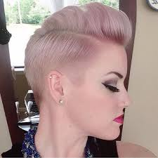 short and sweet haircut and dusty pink and lilac hair color