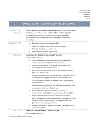 how to write a resume for a warehouse job import export coordinator resume template and job description import and export coordinator job description and resume template