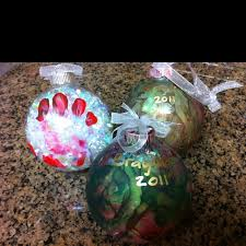 buy clear glass ornaments and let your one paint them