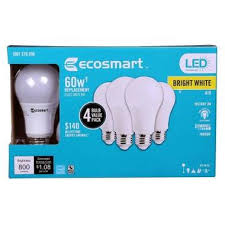 ecosmart 60w equivalent bright white a19 energy dimmable led