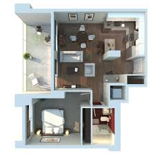 3d average modern one bedroom apartment using queen sized bed with