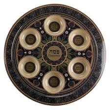 passover plate seder plate for passover blue ornaments hebrew text in bambo