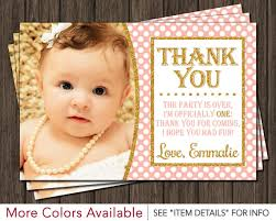first birthday thank you card peach pink and gold by puggy