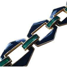 david hill ciner art deco design enamel gold tone bracelet navy
