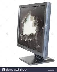 side view broken monitor with damaged glass screen isolated on