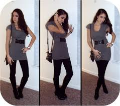 fashion trends long sleeves sweater dresses with leggings and