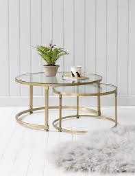 round glass side table stacking round glass coffee table set rose grey