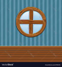 Home Interior Vector by Cartoon Wooden Round Window Home Interior Vector Image