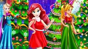 elsa anna jasmine ariel and rapunzel christmas tree decorating