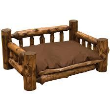 Wooden Log Beds Vintage Cedar Log Dog Bed With Mattress