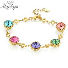 bracelet color crystal images Mytys multi color crystal bracelet for girlish yellow gold link jpg