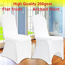 White Banquet Chair Covers 100 Spandex Lycra Wedding Chair Covers White Amazon Co Uk