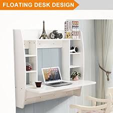floating desk design amazon com mecor floating desk with storage wall mounted design for