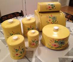 vintage yellow ransburg kitchen items 7 pieces rare vintage