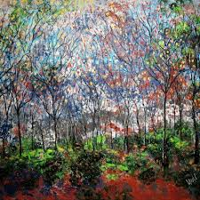 copper trees 40 x 30 mixed media by jean vadal smith bentson