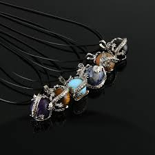 round crystal necklace images Hot sale natural round crystal necklace fire dragon wire wrapped jpg