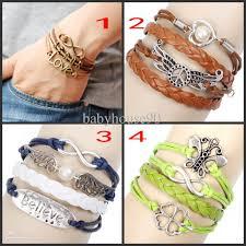 wrap bracelet with charms images Womens mens leather wrap bracelets vintage jesus peace wings jpg