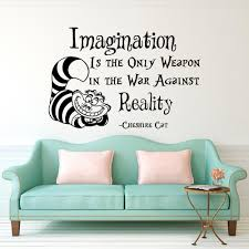 wall decal alice in wonderland cheshire cat quote imagination zoom