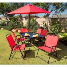 Patio Dining Sets With Umbrella Mainstays Glenmeadow 6 Piece Folding Patio Dining Set With