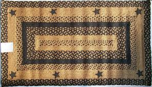 Home Decor Star by Ihf Applique Star Black Tan Braided Jute Rug Rustic Primitive