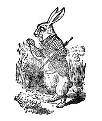 free vintage clip art white rabbit alice wonderland