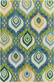 Tufted Area Rug Terra Collection Tufted Area Rug In Green Blue Yellow
