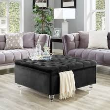 overstock ottoman coffee table belini velvet square button tufted oversized storage ottoman and