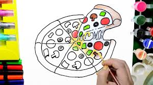 draw color paint pizza coloring pages and learn colors for kids