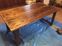Plank Dining Room Table Custom Dining Room Table In The Making Assembly And Staining