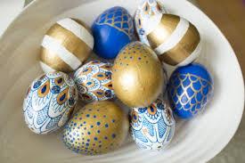 gold easter egg blue gold white easter eggs decorating easter