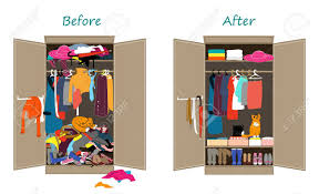 messy closet before untidy and after tidy wardrobe messy clothes thrown on
