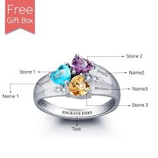 mothers rings 2 stones personalized ring with birthstones rsnamenecklace