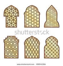 islamic classical windows doors arabic ornament stock vector