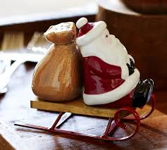 santa sled salt pepper shaker set pottery barn