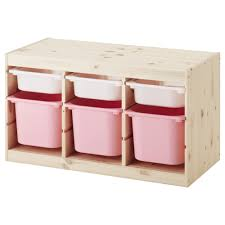 Ikea Storage Boxes Wooden Trofast Storage Combination With Boxes Light White Stained Pine