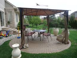 small circular patio off deck for sitting area with a zero