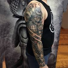 man with samurai in full armor full sleeve shaded tattoo tattos