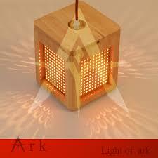 ark light handmade wood cube led pendant lamp foyer dining room