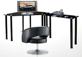 modern black computer desk rta glass corner computer desk with 1 side extension table clear or