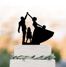 high five cake topper and groom high five wedding cake topper with child family