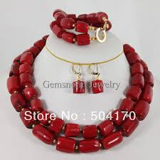 fashion jewelry red necklace images New arrival fabulous doble rows red coral necklace bracelet jpg