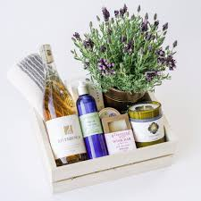 lavender gift basket rosé spa gift box with lavender plant the santa barbara company