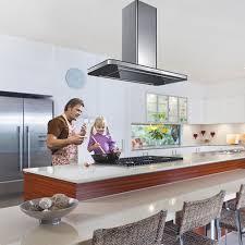 kitchen elegant cosmic island cooker hood black glass extractor