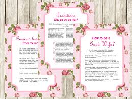 Good Housewife Guide Vintage Pink Rose Bridal Shower Games Magical Printable