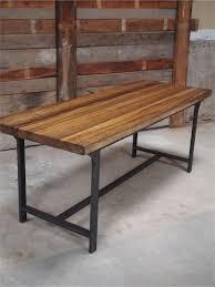 bureau en bois massif table ou bureau metal industriel militaire plateau bois massif