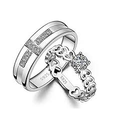 rings girl images Dancing girl silver metal couple rings for girls boys amazon in jpg